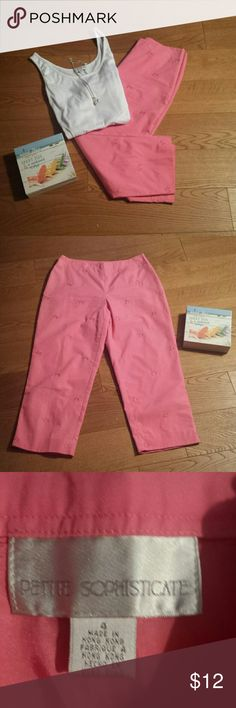 """Fun Chic Pink Capris Sz 4P Great condition. 100% cotton, waist is 27 """" rise is 9 1/2"""" and inseam is 22"""". Petite Sophisticate Pants Capris"""