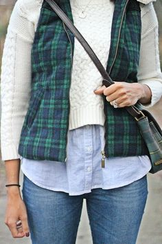 Fabulously Average wearing plaid puffer vest, #LCLaurenConrad crop sweater, @hm denim