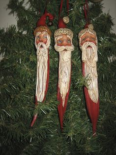 Ornaments sculpted with Quikwood on dried Okra pods. - Great on banana gourds too! Christmas Pine Cones, Primitive Christmas, Christmas Art, Christmas Holidays, Christmas Decorations, Christmas Ornaments, Lightbulb Ornaments, Xmas, Santa Crafts