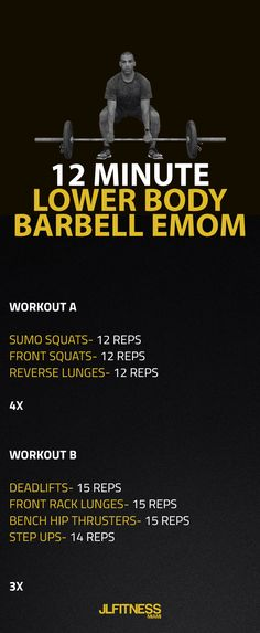 EMOM Workout Here's a short bodyweight workout that is appropriate for a beginner. Complete the prescribed repetitions per exercise within the allowed 60 seconds. Then move on to the next exercise every minute until you Crossfit Legs, Crossfit Leg Workout, Crossfit Barbell, Emom Workout, Leg Workout At Home, Dumbbell Workout, Gym Workouts, At Home Workouts, Training Workouts