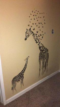 Giraffe wall art.