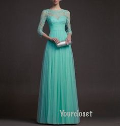 Elegant Green Lace Floorlength Prom Dress Party door GirlsProms, $228.90