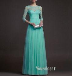 Elegant Green Lace Floorlength Prom Dress Party door GirlsProms, $228.90