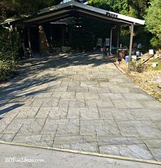 How to install beautiful stamped concrete tiles for the look of stamped concrete for a fraction of the cost! Painting Concrete, Concrete Tiles, Stained Concrete, Diy Pergola, Pergola Kits, Diy Driveway, Driveway Ideas, Diy Stamped Concrete, Cement Work