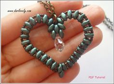 Beaded Pendant Tutorial Pattern - Superduo Heart Pendant/ Charm (PD008) - Beading Jewelry PDF Tutorial (Digital Download)