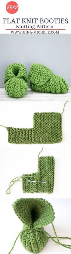 FREE knitting pattern for these Flat Knit Baby Booties. Perfect for beginners!