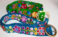 Wool handmade embroidered floral belt by PrimeServices on Etsy