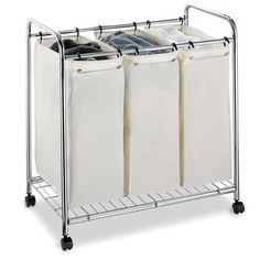 Constructed out of tubular steel with a chrome finish, this space saving three section laundry cart is ideal for storing all of your dirty laundry.