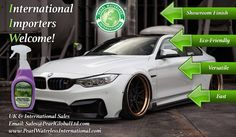Pearl waterless car wash products manufactured in the UK and shipped throughout the world.