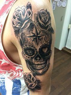 Candy skull, skull tattoo, roses tattoo