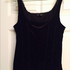 White House Black Market black velvet like tank L Women's White House Black Market black velvet like tank size large.  Great layering piece, wear with jeans and a blazer and a great date night outfit. White House Black Market Tops Tank Tops