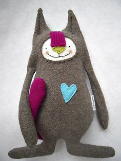 cat plushie toy from upcycled sweater