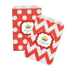 "Circus Carnival Chevron & Dots Goodie Bags (set of 12). End your circus act with a bang with party favors that are sure to be a hit! Our Circus Carnival Chevron & Dots Goodie Bags are the cutest and most versatile bags on the market. Fill them candy, popcorn, or other carnival favorites for a treat that's both stylish and tasty. You can also lay them out at a candy buffet table for a decorative ""pack your own"" goodie bag.  Goodie bags come with personalized labels as shown.  Choose from..."