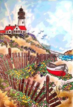 Мастер-класс по витражной росписи: картина Морской пейзаж.