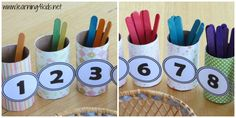 This Numbers and Counting Activity is a opportunity for children to play and learn with numbers. The activity involves children counting out the value for each number and placing 'how many' pop sticks into the cardboard roll with that number. Such as Number 1 = 1 pop... #Numbersandcountingactivity