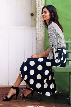 What to Wear to a Luncheon, Mixed Prints Edition: Striped Blouse, Polka Dot Midi Skirt, Ankle Strap Sandal Rock Style, Style Me, Trendy Style, Hair Style, Look Fashion, Womens Fashion, Fashion Trends, Fashion Edgy, Fashion Outfits