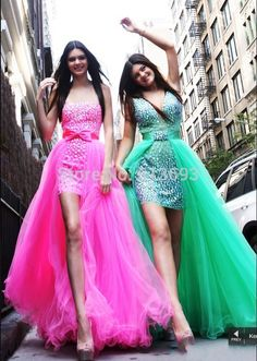 Incredible Rhinestone Crystals Sleeveless with Removable Skirt