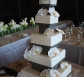 Asian inspired wedding cake with orchids