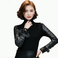 Winter Sweater Women 2017 Turtleneck Full Sleeve PU Leather With Real Rabbit Fur Warm Sexy Slim Pullovers Solid Knitted Sweater -*- AliExpress Affiliate's buyable pin. View the item in details on www.aliexpress.com by clicking the image #Women'ssweaters