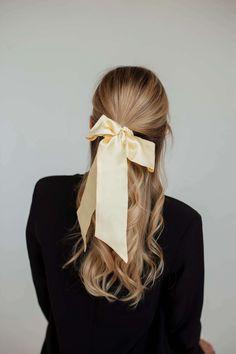 Резинка для волос из натурального шелка с бантом желтая в магазине «silk lovers» на Ламбада-маркете Hair Ribbons, Band, Sash, Bands