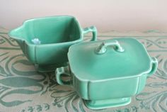 Art Deco Riviera Cream and Sugar by Homer Laughlin in lovely Green Circa 1930s, $66.00