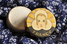 Art Deco Antique French Francy Make Up Powder.