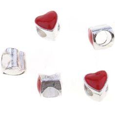 25pcs New Plated Silvery Enamel Red Heart Alloy European Beads Fit Jewellery J