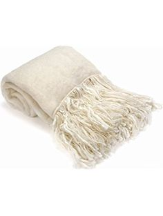 "merben international Mohair Throw with Fringes, 53 x 70"", Snow ❤ merben international inc"