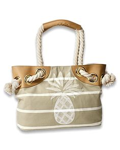 Tommy Bahama Pineapple Shore bag at Adventures in Paradise Beach Accessories, Fashion Accessories, Fashion Handbags, Tote Handbags, Beach Bum, Beach Towel, Beach Ready, Beige, Resort Wear