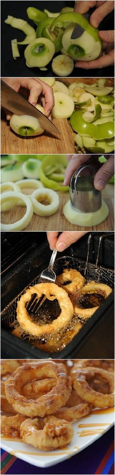Apple Rings with Cinnamon Cream Syrup for Dippin