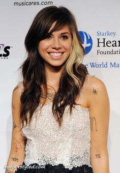 Christina Perri Latest trendy hair style for long hair...would be cute with blonde on blonde or brown on brown too
