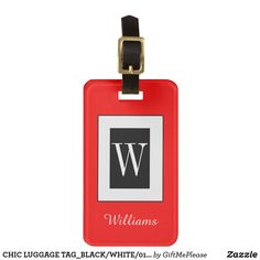 CHIC LUGGAGE TAG_BLACK/WHITE/01 RED LUGGAGE TAG Personalized Luggage Tags, Custom Luggage Tags, Luggage Straps, Standard Business Card Size, Leather Luggage, Printing Process, Flask, Black And White, Chic