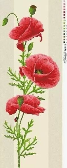 Poppies Beaded embroidery, beading on needlepoint kit, DIY beadpoint #beadembroideredpicture