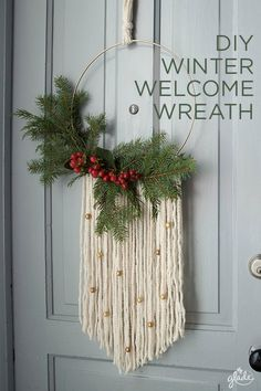 Greet friends with the joy of the season by making your very own modern wreath. Greet friends with the joy of the season by making your very own modern wreath. All you need is some spruce, yarn, a Bohemian Christmas, Noel Christmas, Christmas Fashion, Christmas Shoes, Modern Christmas Decor, Diy Christmas Wreaths, Make Your Own Wreath Christmas, Christmas 2019, Diy Christmas Projects