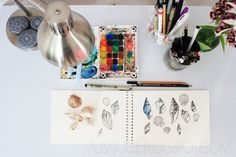 """alisaburke: a peek inside my office -- something creative about the """"very used"""" watercolor set!"""