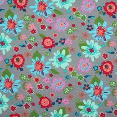 Kinderstoff Jersey - Hell Blumen Grau