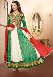 Off White and Green Faux Georgette and Net Abaya Style Churidar Kameez