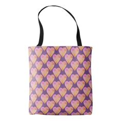 Hearts Pattern Colorful Pink Tote Bag - girly gifts special unique gift idea custom