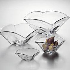 Simon Pearce glass bowls.
