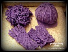 Szydełkowe mitenki, rękawiczki, kaszkiet i szalik...