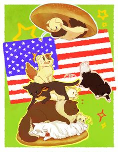 """look out guys America is about ta land~! lol Iggycat's face """"oh shiz; everyone run!!!!!!"""" Japancat is like """"already doin' that bye~"""" germanycat's like """"I gotta look cool while protecting Italycat!!!"""" Canacat just like """"hey guys do you see me I'mma part of the group too~"""" russiacat is like """"if Americat values his life he will stop what he's doing...da?"""" France is like """"Meh I'm fine with this zzz...."""" iggycat: """"You git your gonna-"""" .... """"you know what nevermind get smashed..."""" >:3"""