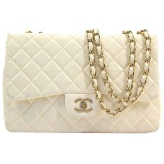 Pre-owned Chanel Lamb Skin Jumbo Flap Shoulder Bag ($3,785) ❤ liked on Polyvore featuring bags, handbags, shoulder bags, cream, shoulder hand bags, cream purse, flap shoulder bag, brown shoulder bag and brown purse
