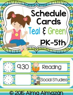 Very cute schedule cards that can be used in a pocket chart or on a bulletin board... some cards with pictures for younger students that are in Pre-K and Kinder. The other cards do not have pictures on them (only words). Clock cards included. Teal & Green Created by Alma Almazan