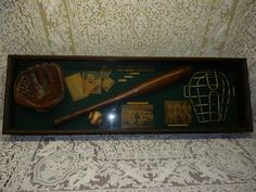 Vintage History of Baseball Shadow Box with Babe Ruth, Ty Cobb, Satchel Paige - SOLD