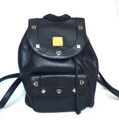 Authentic MCM Vintage leather Black Backpack