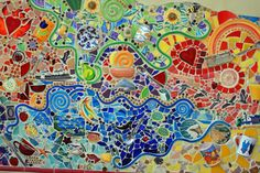 different objects and pieces of china patterns. I love all the whimsical and funky items in this piece! Mosaic Wall Art, Tile Art, Mosaic Glass, Mosaic Tiles, Glass Art, Fused Glass, Mosaic Crafts, Mosaic Projects, Art Projects