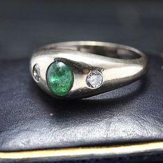 Vintage Emerald and Diamond Stirrup Ring, c. 1880, $1400.