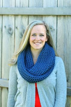 Cool Weather Infinity Scarf in Denim Blue by FountainTopCreations