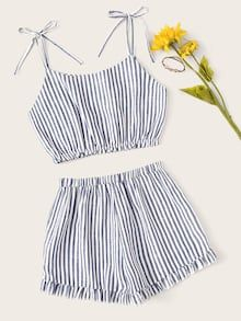 Cheap Striped Crop Cami Top With Shorts for sale Australia Cute Comfy Outfits, Cute Girl Outfits, Cute Summer Outfits, Outfits For Teens, Pretty Outfits, Girls Fashion Clothes, Summer Fashion Outfits, Jugend Mode Outfits, Crop Top Outfits