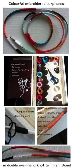 Make your earphones colourful by DIY embroidering/ wrapping any earphones.